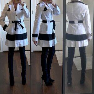 Black white striped dress trench coat